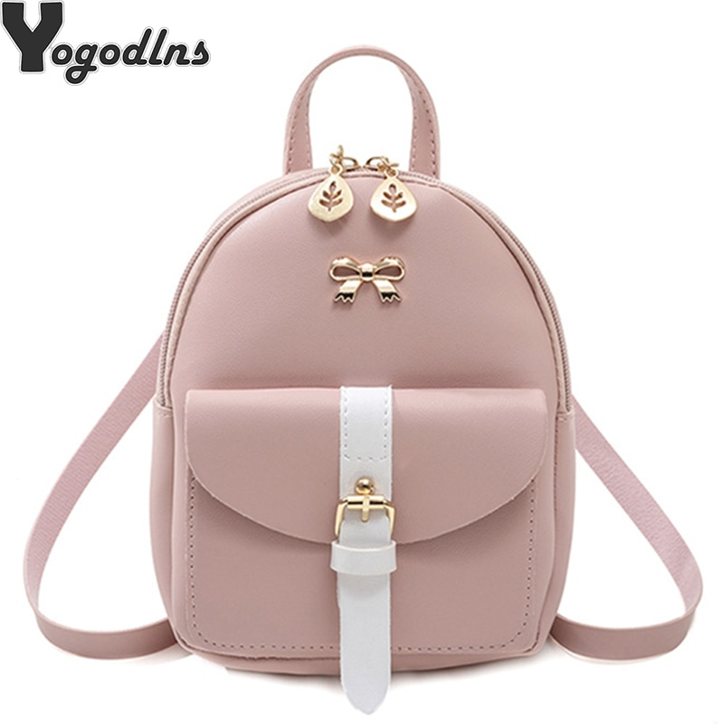 2020 New mini cartoon backpack dual-use small diagonal cross bag PU leather knapsack fashion girl small cute bow female Packbag
