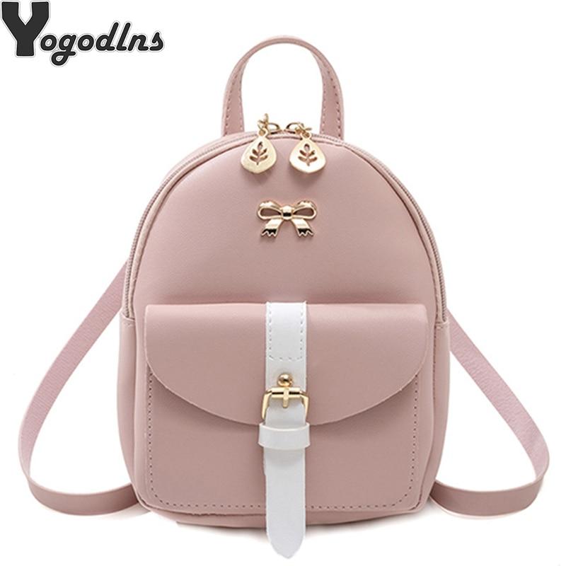 2020 nueva mini mochila de dibujos animados de doble uso pequeño bolso cruzado diagonal PU Mochila de cuero de moda chica pequeño lindo lazo mujer Packbag