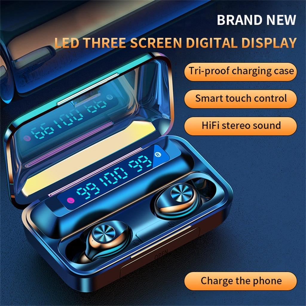 40 # bluetooth 5.0 fones de ouvido 2200mah caixa carregamento sem fio fone 9d estéreo esportes à prova dwaterproof água fones com microfone