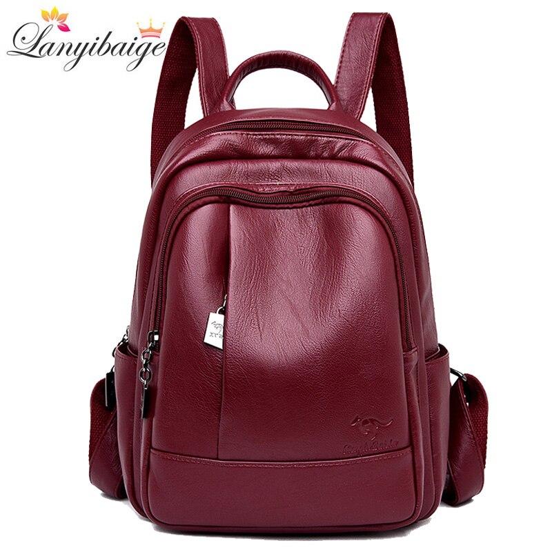 2021 Women Leather Backpacks Women's Shoulder Bag Backpack Ladies Backpack Vintage School Bags For Girls Travel Backpack New