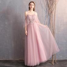 새로운 신부 들러리 드레스 카메오 라인 층 길이 웨딩 게스트 가운 o-넥 슬링 하프 슬리브 우아한 Vestido 드 페스타 Longo R002