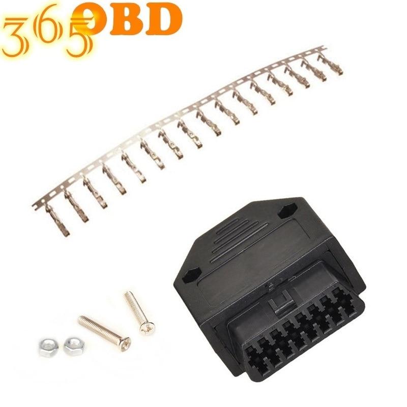 50Pcs Gabinete Conector OBDII Universal OBD2 16Pin Feminino Conector OBD II Feminino Plug Conector do Adaptador OBD 2 Com Gabinete