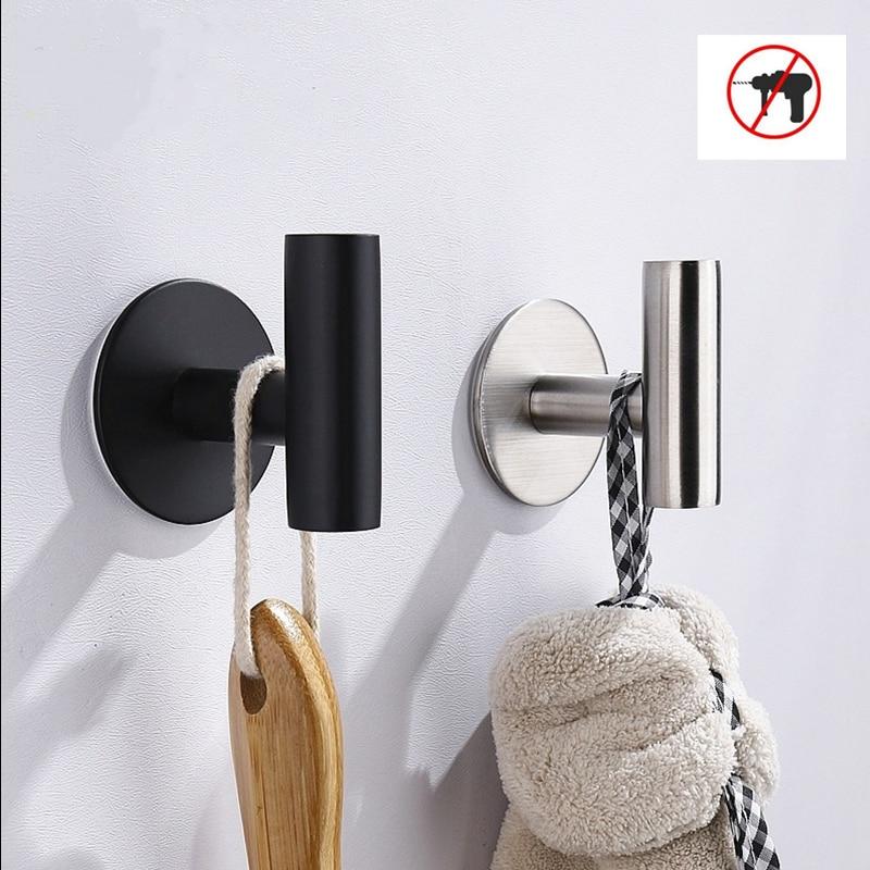 خطاف ملابس سوداء الفولاذ المقاوم للصدأ هوك ملابس واحدة خزانة جدار المرحاض جدار هوك واحد للحمام منشفة مطبخ هوك