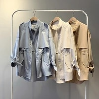 fashion trench coats female spring windbreaker drawstring coats casual loose safari clothes stand collar 2020 women short trench
