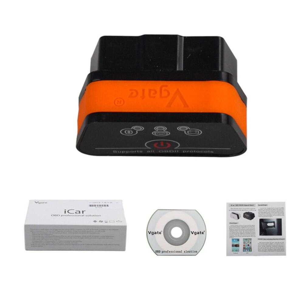 Vgate icar2 Bluetooth OBD2 herramienta de diagnóstico ELM327 Bluetooth escáner OBD 2 Mini ELM 327 WiFi para Android/IOS/PC lector de código
