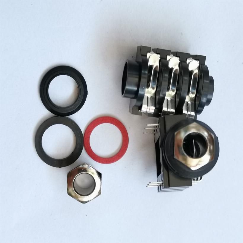 20 pçs/lote 6.35mm/6.35 microfone de áudio estéreo soquete fêmea/conector jack 6p/6pin