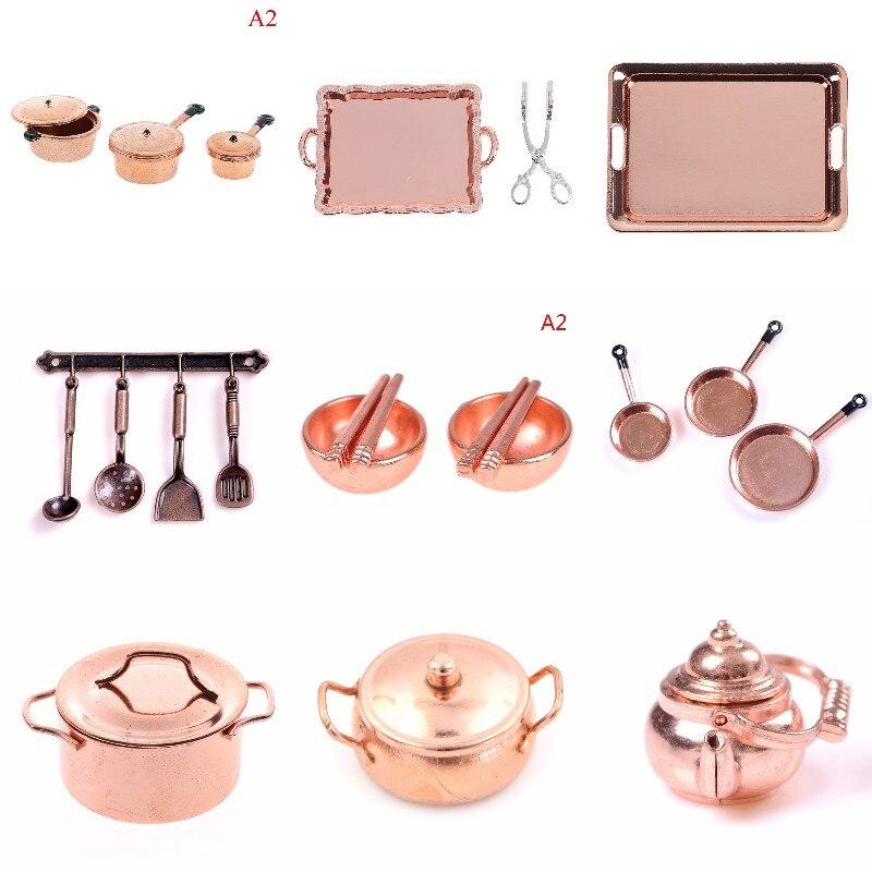 112 весы кукольный домик Миниатюрный бронзовый цвет сковорода кухонная утварь чайник кухонная посуда кухонная утварь набор куклы аксессуар...