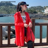 zurichouse 2021 drawstring hooded thin coat female long outdoor outwear loose casual sun protection summer jacket women