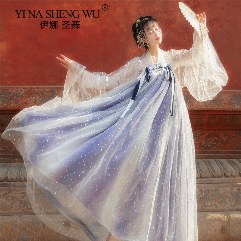 Hanfu القديمة الجنية ازياء النساء الصينية التقليدية فستان الرقص تأثيري كرنفال الجنية المرحلة زي الإناث الأميرة الملابس