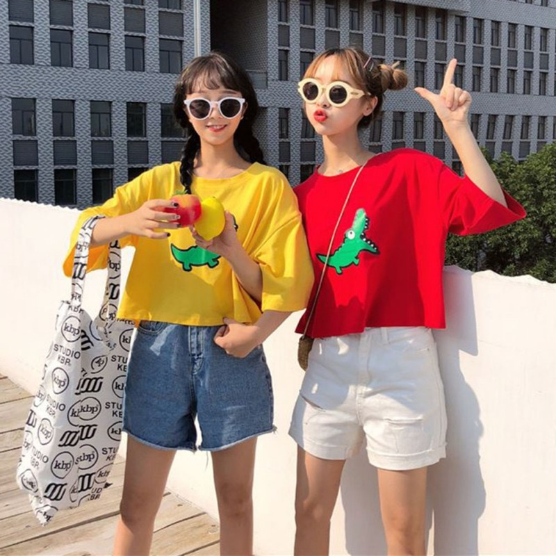 2019 camiseta femenina Coreana de verano harajuku Animal de dibujos animados Camiseta de manga corta Mujer estampado talla grande cuello redondo amarillo rojo camisa
