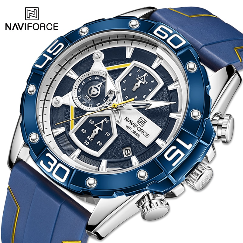 Фото - New NAVIFORCE Luxury Watches For Men Military Silicone Strap Sport Chronograph Quartz Wristwatch Male Waterproof Clock With Date 2021 new sport travel lover watches carnival red digital clock gift for men waterproof electronics offers with free shipping