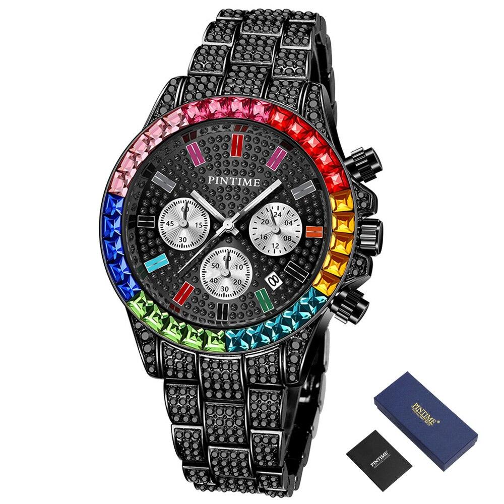 Chronograph Diamond Mens Watches Top Brand Luxury Steel Clock Waterproof Iced Out Watch Men Gold Quartz Wristwatch Date Relojes