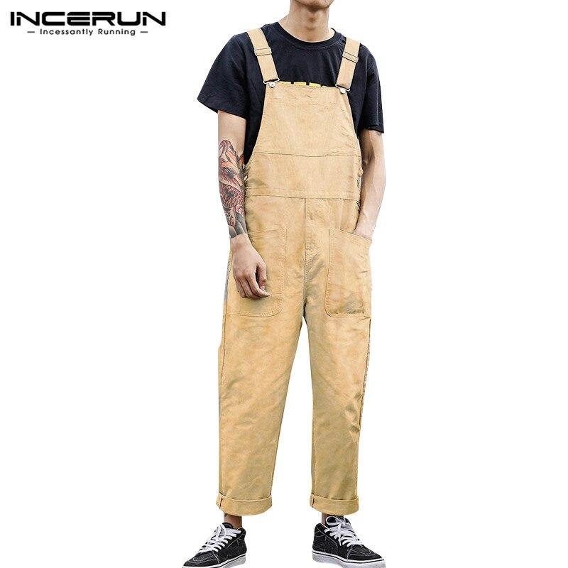 Moda carga macacão masculino lazer bib calças casuais botões macacão incerun veludo bolsos dungaree calças macacão plus size