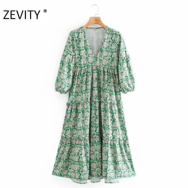 Женское винтажное платье-миди с v-образным вырезом и цветочным принтом