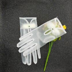 Branco curto luvas femininas verão tule malha gaze ultra fino vintage elegante feminino sheer luvas transparente vestido de festa luva