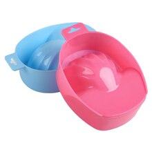 2Pc Professional Plastic Nail Art Hand Wash Remover Soak Bowl DIY Salon Spa Bath Treatment Tray Mani