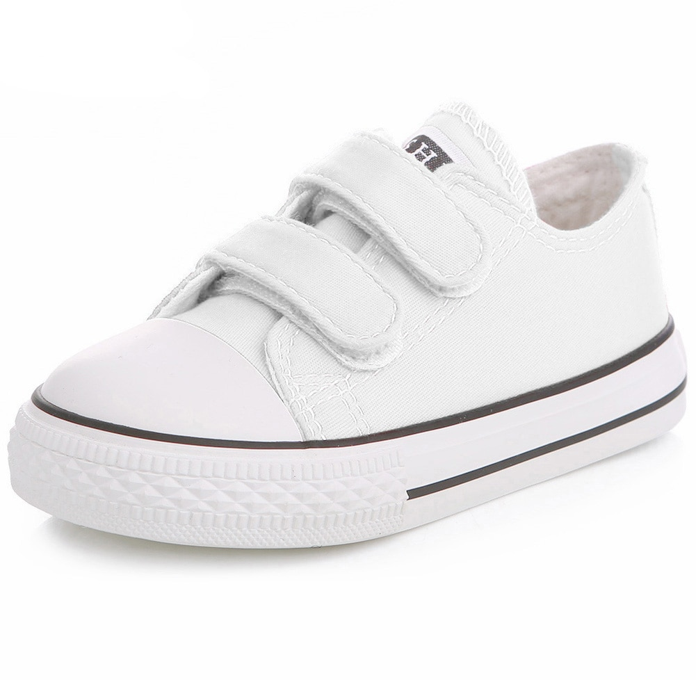 Toddler Boys and Girls Sneakers Casual Canvas  Shoes Low Top with Adjustable Strap Lightweight for B