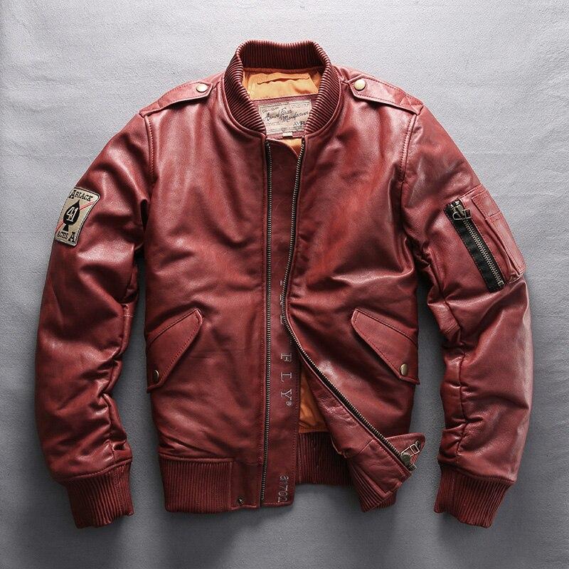 Avirex fly 2019 Mens Genuine Leather Down Coats Fashion Red Sheepskin Pilot Jackets Russia Winter Coats M-6XL Free Shipping