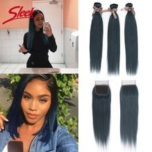 Sleek Brazilian Straight Bundles With Closure Dark Blue Color Remy Human Hair Bunldes With Closure For Black Women