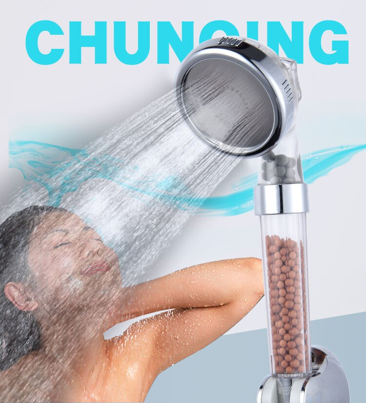 Shower Head Bath Shower Adjustable Jetting Shower Head High Pressure Saving water Bathroom Anion Filter Shower SPA Nozzle