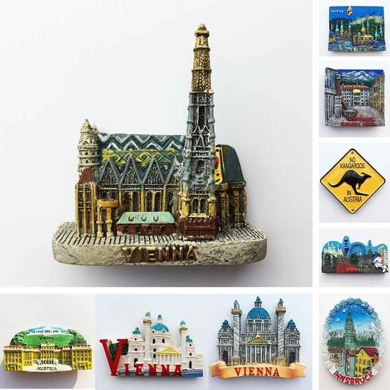 Austria Vienna Fridge Magnet Salzburg Innsbruck Tourism Souvenir Crafts Magnetic Refrigerator Stickers Hand Gift Home Decoration