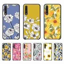 Art fleur florale joli motif impression étui de téléphone doux noir étui en TPU pour Huawei P20 P30 Pro P20 P30 lite P smart Z Y5 Y6 Y7 Y9