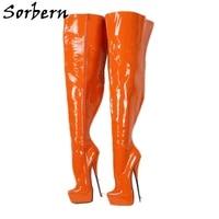 sorbern orange ballet boots crotch thigh high fetish shoes stilettos platform drag queen crossdresser hard walk custom shoes