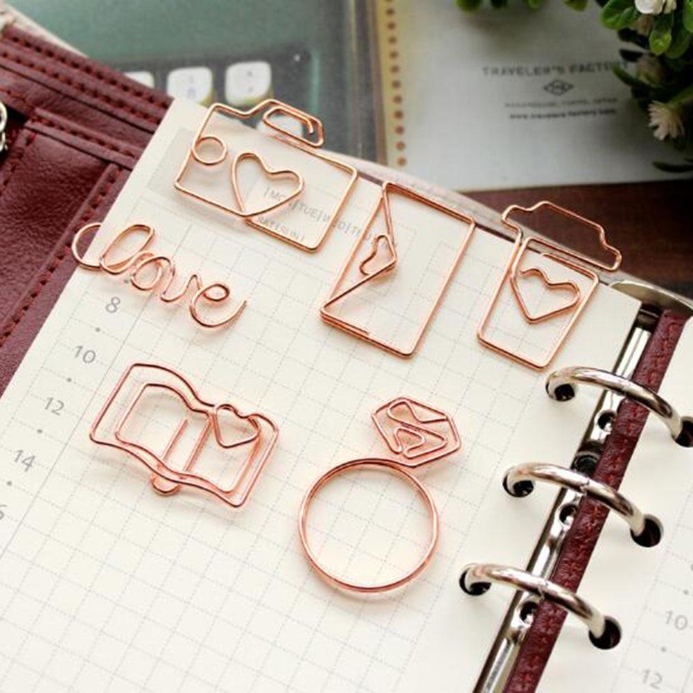 4Pcs/Set Rose Gold Camera Ring Book Paper Clips Bookmark Planner Tools Scrapbooking Tools Memo Clip Metal Binder Paper Clip