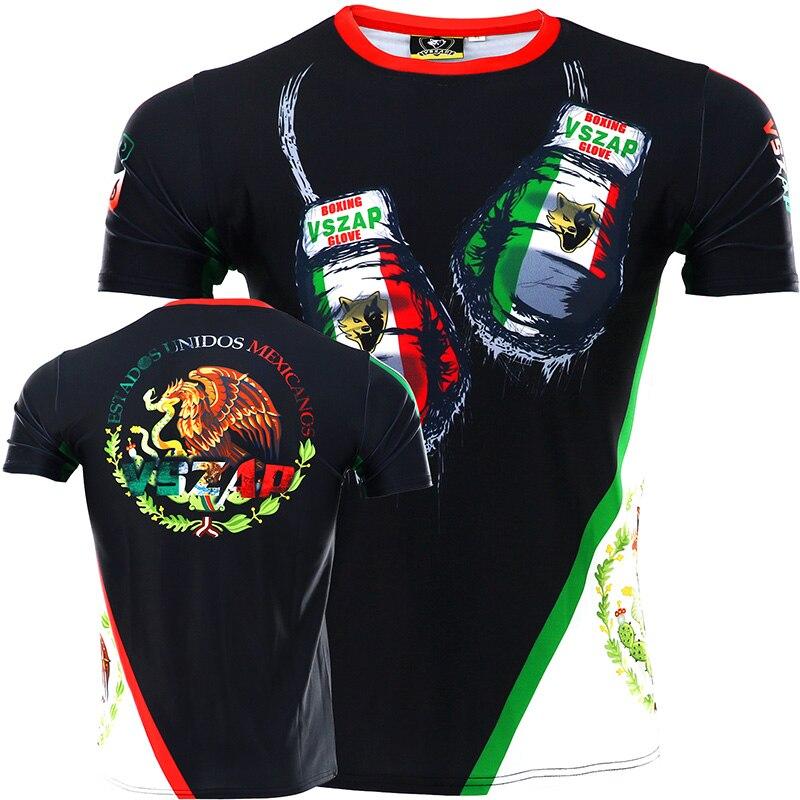 VSZAP MMA Mexico Camouflage Fitness Breathable Skinny Boxing Jerseys Tiger Muay Thai Jiu Jitsu T Shirt Mma Rashguard Boxing