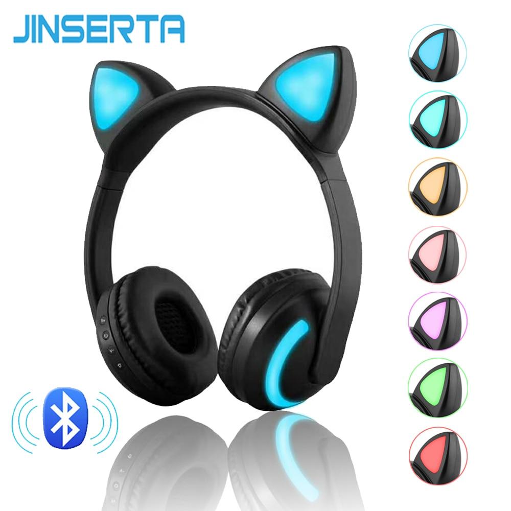 JINSERTA بلوتوث ستيريو القط سماعات أذن وامض متوهجة القط سماعات أذن سماعة الألعاب سماعة 7 ألوان مصباح ليد