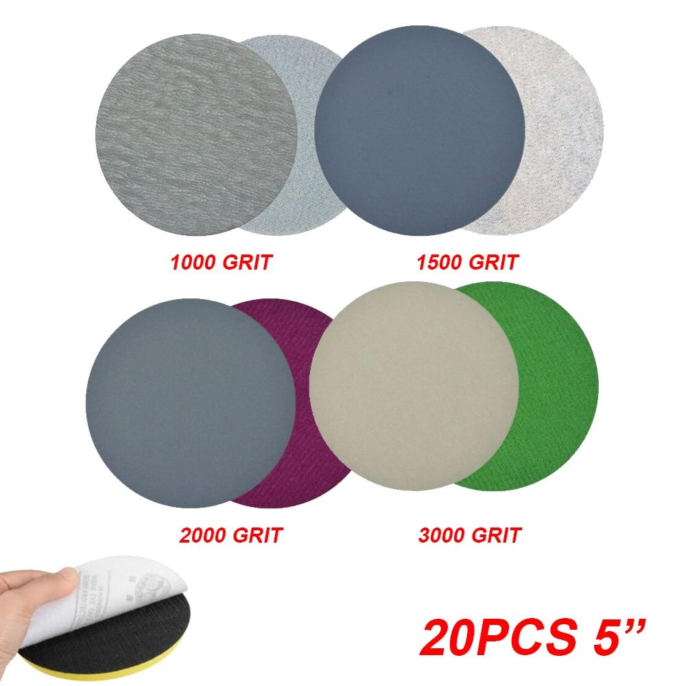 20pcs 5-inch Wet/Dry Sanding Discs Pads 125mm 1000 - 3000 Grits Sandpaper Shank For Polishing Cleaning Tool Sanding Disc Set pad недорого