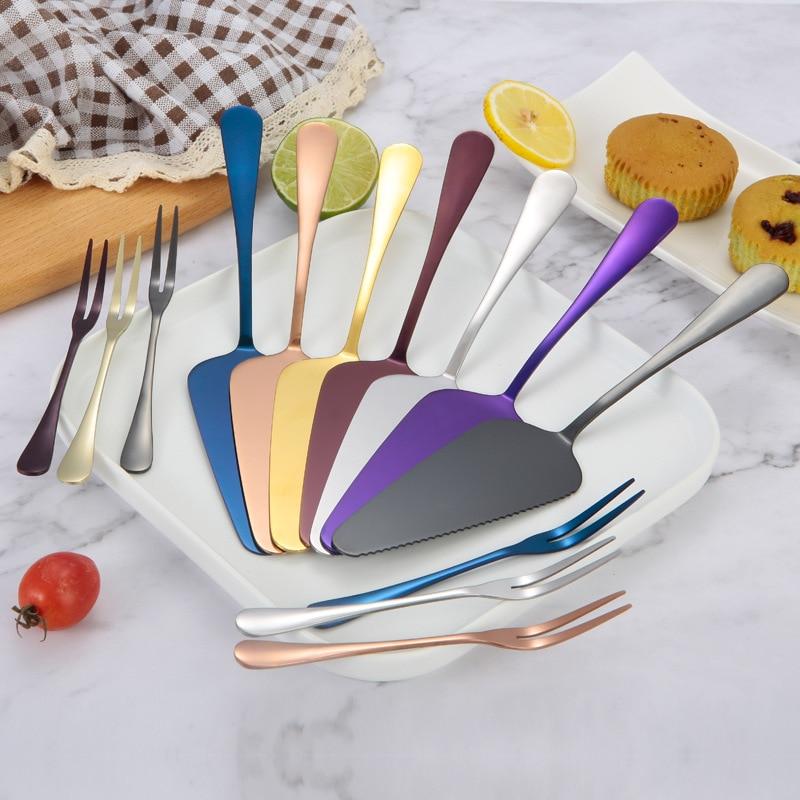 Pala para tartas de acero inoxidable, pala creativa para Pizza, tenedor para fruta, tenedor para postre con dos dientes, herramienta para hornear