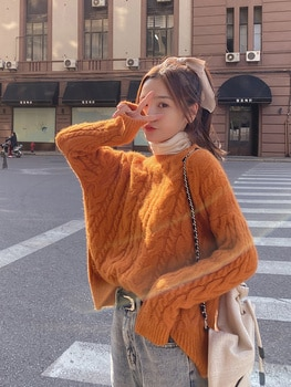 Knitted Sweater Thick Thread Short Sweater Women's Loose Fall and Winter Outer Wear Pullover Thickened Lazy Twist Sweater