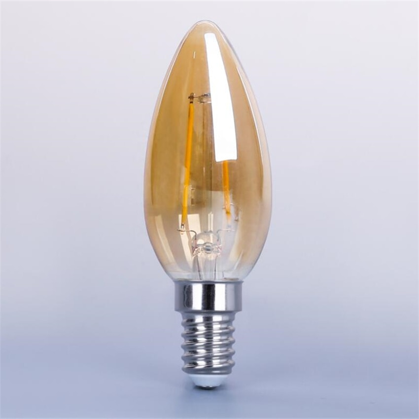 YANG MIN Free Shipping Hot Selling  Amber Frosted Glass Cover E14 4W 500lm C35 Vintage Led Candle Bulbs Dimmable enlarge