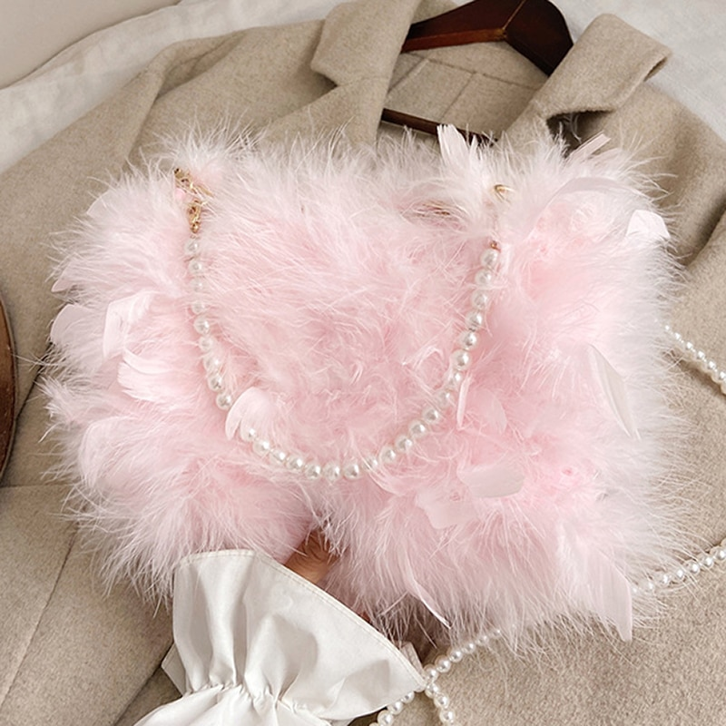 Women Winter Ostrich Hair Beading Hand Fur Handbag Fashion Portable Diagonal Real Feather Bags for F