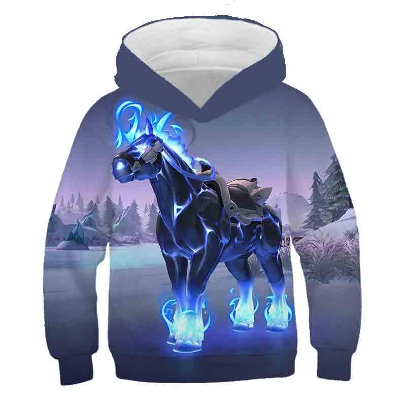 Толстовка для мальчиков и девочек с 3D-принтом «красивая лошадь», Детская осенняя толстовка, Молодежный Повседневный пуловер, длинная детск...