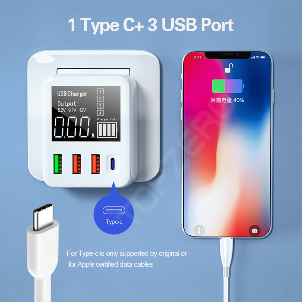 شاحن موبايل حائطي سفري 3.0 USB شحن سريع 30/40 واط, محول هاتف محمول شاحن سريع USB لهاتف آيفون شاومي هواوي سامسونغ