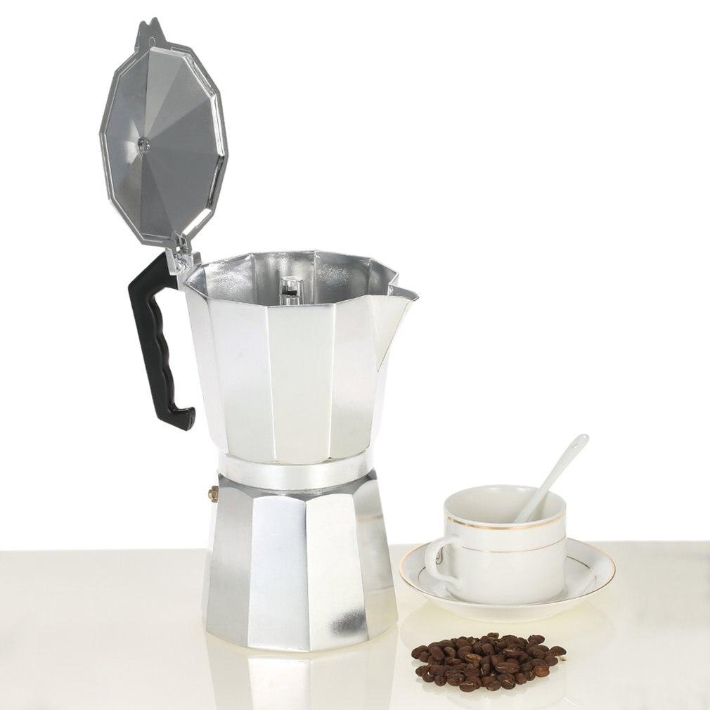 Máquina de café de alumínio durável moka cafeteira expresso percolador pote prático moka cafeteira 50ml fogão