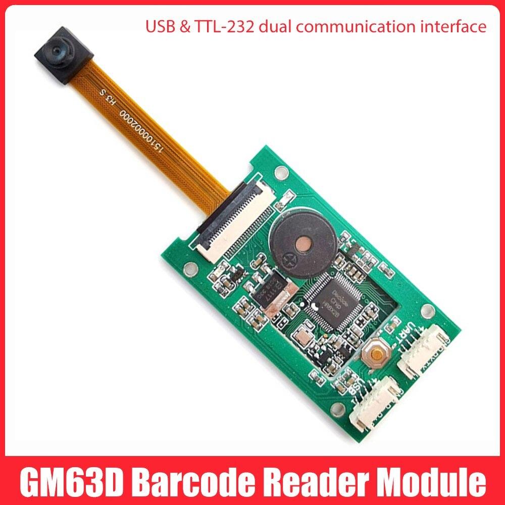 GM63D 1D 2D USB طويل كابل التوصيل QR رمز القارئ مع الطنان للبرمجة وحدة ماسح الباركود المجلس