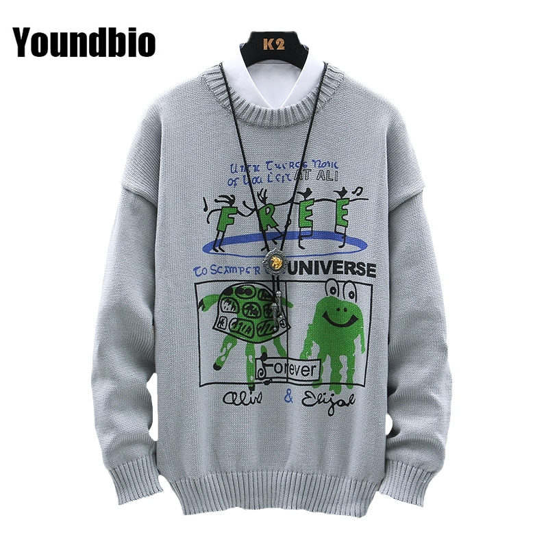 New Mens Casual Hip Hop Streetwear Harajuku Sweater Vintage Retro Knitted Sweater Autumn Winter Cotton Pullover man