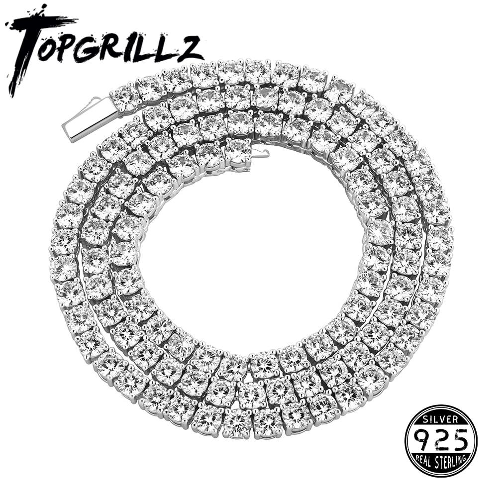 Новый-925-пробы-серебро-Для-Мужчин's-Цепочки-и-ожерелья-Мода-льдом-в-стиле-«хип-хоп»-звено-цепи-ожерелье-из-чистого-серебра-Популярные-ювелирн