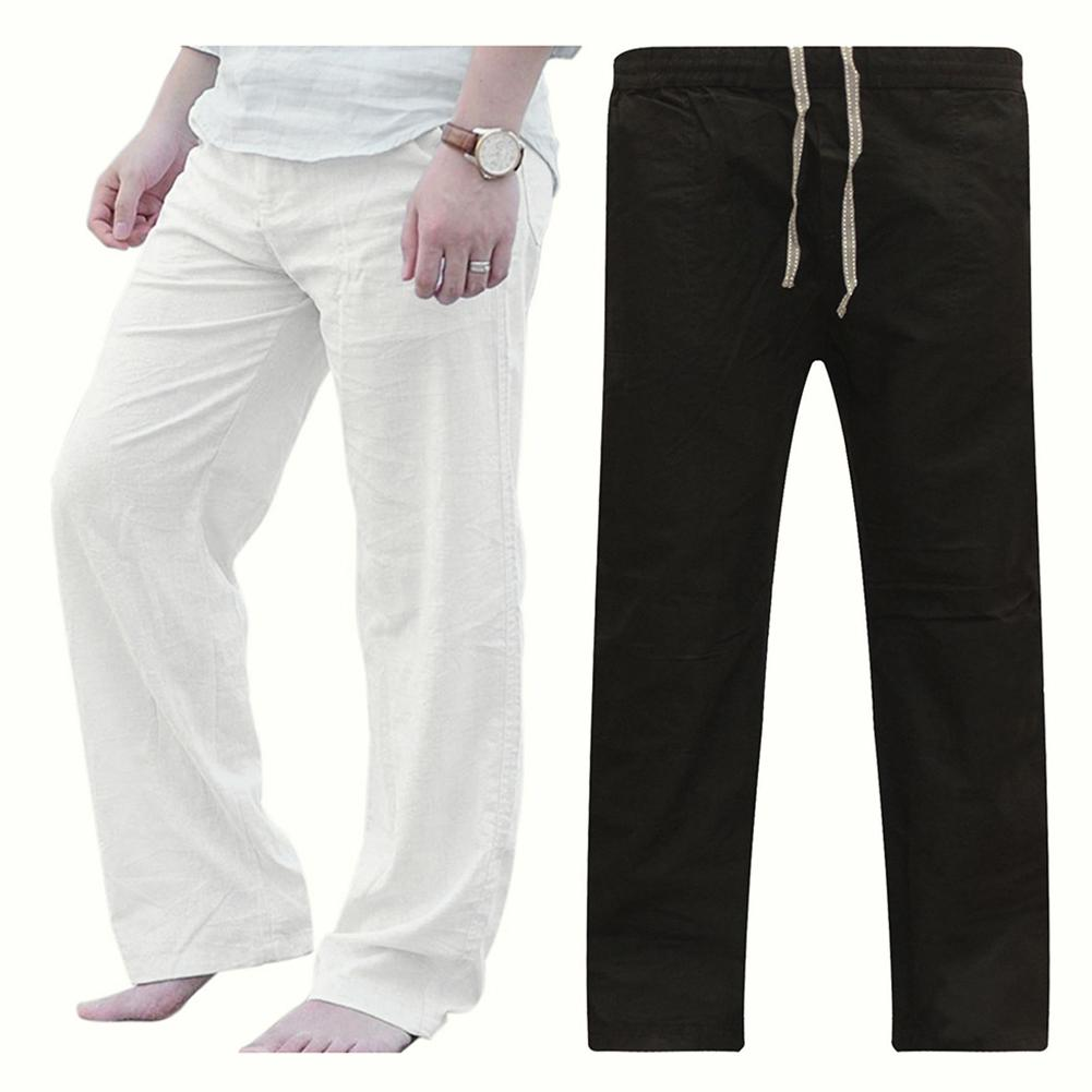 Pants Men Solid Color Loose Drawstring Sports Yoga Pants Straight Wide Leg Sweatpants