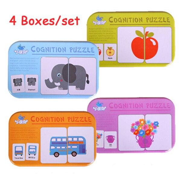 Rompecabezas de madera Montessori para niños, Juego de 4 unidades, juguetes educativos para niños, juguetes de tarjetas con caja