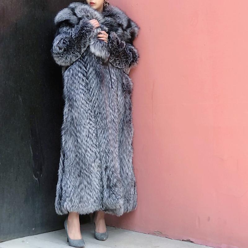 Новая внесезонная специальная цена на осень и зиму 2021 Серебряная лиса с лацканами длинная Молодежная меховая женская куртка