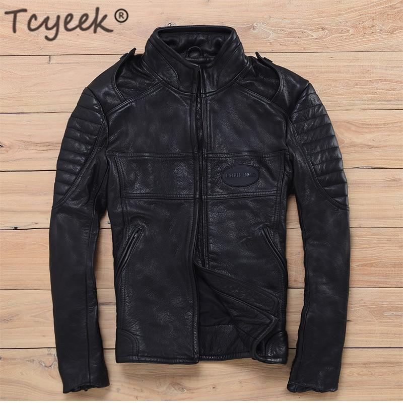 Tcyeek Natural Real Leather Jacket Men Winter Spring Mens Leather Jackets 2020 Streetwear Moto Biker 100% Genuine Leather Coat