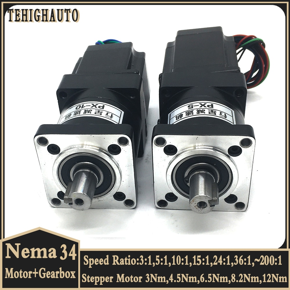 3Nm~12Nm Nema34 Stepper Motor Reducer Kits 2phase 86mm Motor Speed Ratio 3:1 5:1 10:1 ~200:1 Planetary Gearbox gear Motor kits
