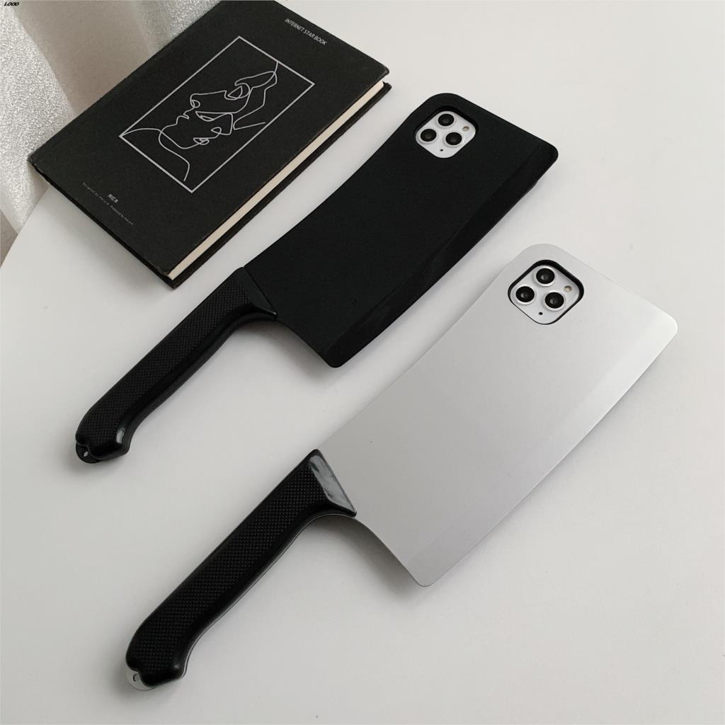Funda 3D interesante cuchillo de cocina divertido teléfono para iphone 11 Pro Max X XS Max XR 7 8 plus suave silicona pistola de juguete contraportada