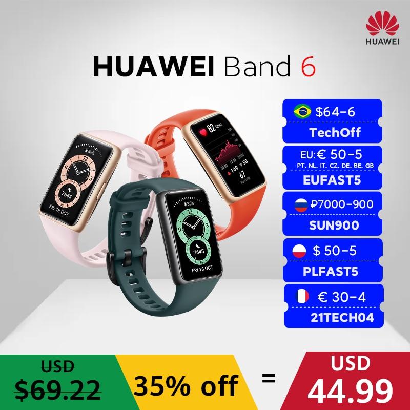 In stock  Huawei Band 6 Smartband Blood Oxygen 1.47''AMOLED Band6 Heart Rate Tracker Sleep monitoring Band 6