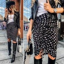 Black-White Polka Dot Women Skirt Ruffle Bodycon Street Style Asymmetrical Knee Length Lady Skirt Casual Midi Skirt Female D30