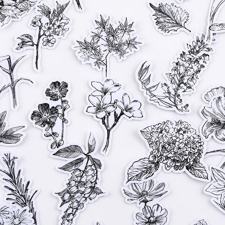 52 pçs sketch flor stickerscrapbooking adesivos decorativos adesivo diy artesanato álbuns de fotos